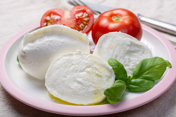 Soft white Italian cheese Mozzarella buffalo served with fresh tomato and green basil leaves Wall mural