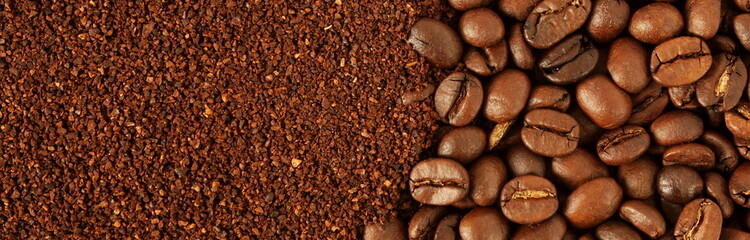 dark roasted coffee beans and ground coffee powder closeup top view
