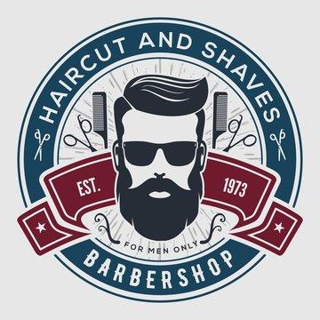 Barbershop vintage label, badge, or emblem. Vector illustration