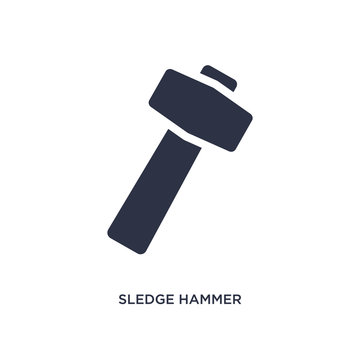 sledge hammer icon on white background. Simple element illustration from construction concept.