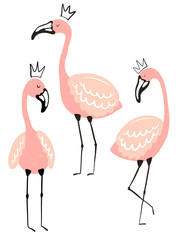 Vector tropical illustration of cute isolated flamingos in the crown. Hand-drawn summer exotic poster for kids, holidays, clothes, decor, textile, fabric, card.