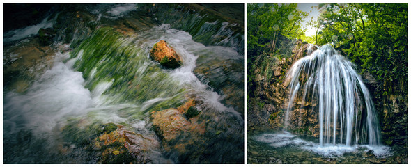 Picture, photo wallpaper, view of a waterfall, diptych