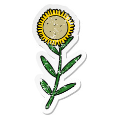 distressed sticker of a cartoon sunflower