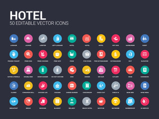 50 hotel set icons such as 24 service, barbershop, bathrobe, bathtub, beach hotel, bellboy, blanket, booking, bread. simple modern isolated vector icons can be use for web mobile