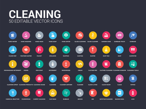 50 cleaning set icons such as acid, baking soda, bathtub cleaning, bin, broom, bubbles, car wash, carpet cleaning, charwoman. simple modern isolated vector icons can be use for web mobile
