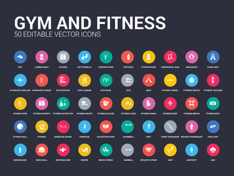 50 gym and fitness set icons such as abs, anatomy, arm, athletic strap, barbell, bench press, biceps, bodybuilder, bosu ball. simple modern isolated vector icons can be use for web mobile
