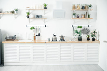 Bright kitchen with wooden top