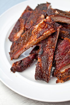 Plate of BBQ Smoked Ribs