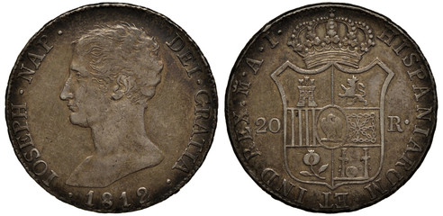 Spain Spanish silver coin 20 twenty reales 1812, French occupation, bust of Jose Napoleon (brother of Napoleon Bonaparte) left, crowned shield with designs divides denomination,