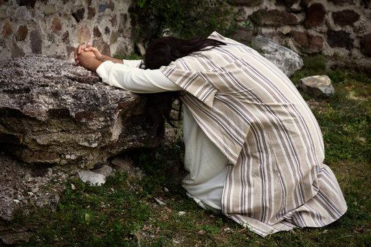 Jesus praying in the garden of olives