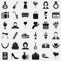 Birthday icons set. Simple style of 36 birthday vector icons for web for any design
