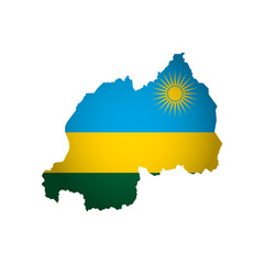 Vector isolated simplified illustration icon with silhouette of Rwanda map. National flag. White background