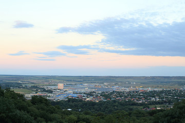 View of Goryachevodsk village from observation deck near Proval Lake. Pyatigorsk, Russia