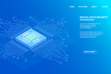 Digital Isometric CPU Microprocessor UI Security Storage System Data Access Protection Gadgets.Abstract Scifi Authentication Futuristic Circuit Board Panel Element Illustration Background.