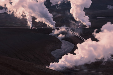Part of the Krafla geothermal power plant near Myvatn in north Iceland