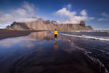 Stokksnes beach with Vestrahorn mountains in background in Iceland