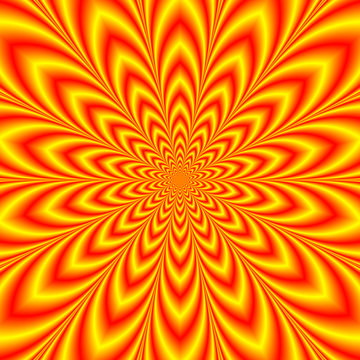 Red and Yellow Star Flower / An abstract fractal image with an optically challenging  star flower design in red, yellow and orange,
