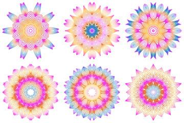 Set of Floral Color Mandala. Arabic, Indian, Motifs. Vector Illustration. Rainbow color