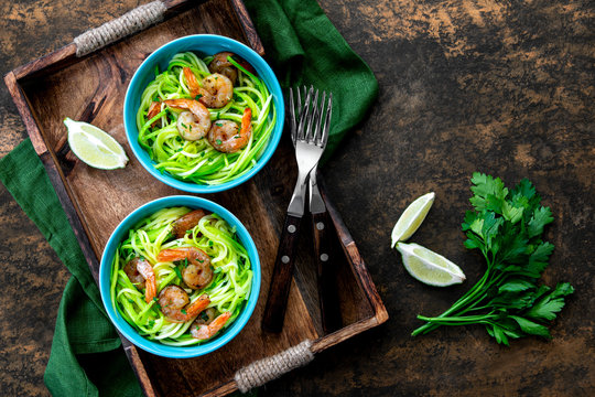 Shrimp zucchini noodles, view from above
