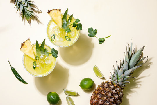Pineapple jalapeno margarita summer cocktail