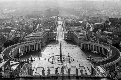 Wall mural Aerial view of St Peter's square in Vatican,black and white,  Rome Italy