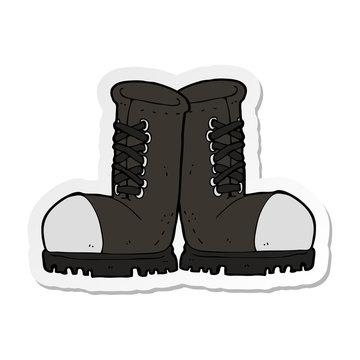 sticker of a cartoon steel toe cap boots