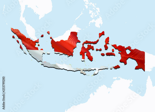 Map Of Asia Indonesia.Flag Map Of Indonesia 3d Rendering Indonesia Map And Flag On Asia