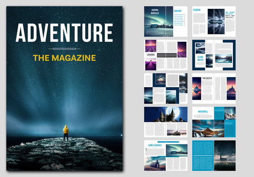 Magazine Layout with Blue Accents