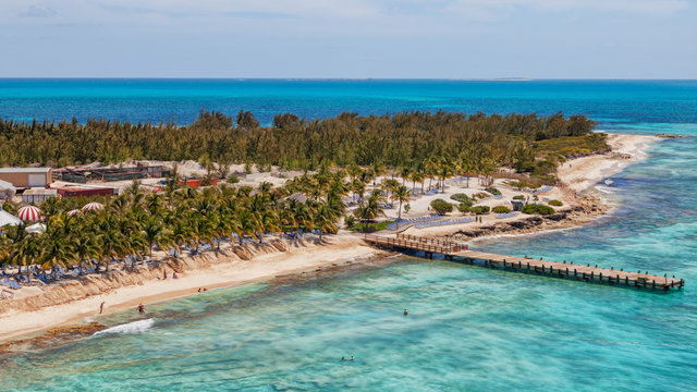 Aerial view of the beach at the cruise center of Grand Turk in the Caribbean..