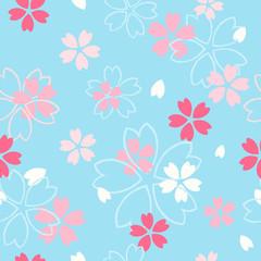 Wall Mural - Sakura flower seamless pattern vector illustration. Pink  cherry blossom on blue pastel background.
