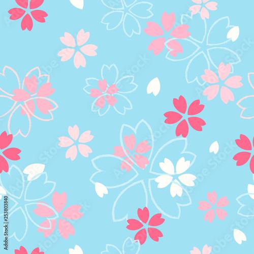 Wall mural Sakura flower seamless pattern vector illustration. Pink  cherry blossom on blue pastel background.