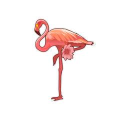 Bird Flamingo and tropical flower sticker. EPS Vector illustration