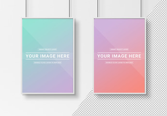 2 White Frames Isolated on Wall Mockup
