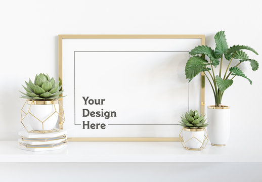 Horizontal Frame on Shelf with Plants Mockup