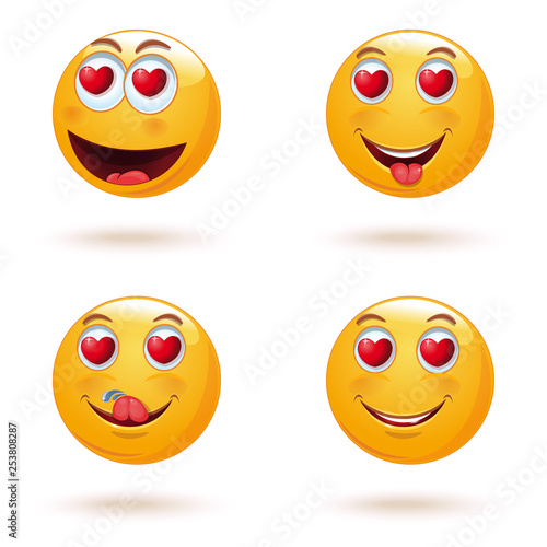 Emoticon face set with hearts instead of eyes  The