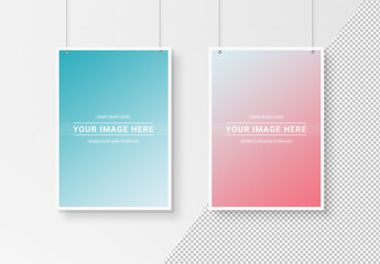 2 White Posters Isolated on Wall Mockup