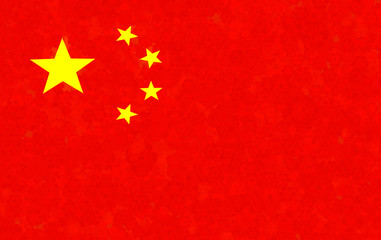 Graphic illustration of a Chinese flag with a flower pattern