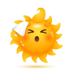 Cartoon sun moping its forehead illustration. Handkerchief, tissue, heat. Weather forecast concept. Can be used for topics like summer, weekend, beach