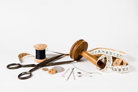Tailor still life set - vintage tools for handmade custom tailoring industry.