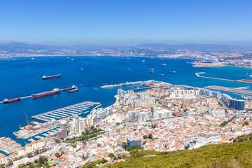 Gibraltar Landschaft Hafen Port Meer Mittelmeer Urlaub Übersicht Stadt