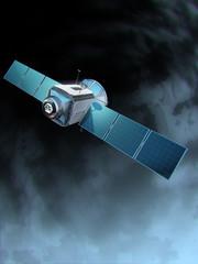 Research satellite orbiting around the exoplanet.