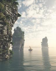 Fishing Boat Sailing Through Giant Sea Stacks - 3d digitally rendered illustration