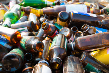 Different glass bottles for recycle