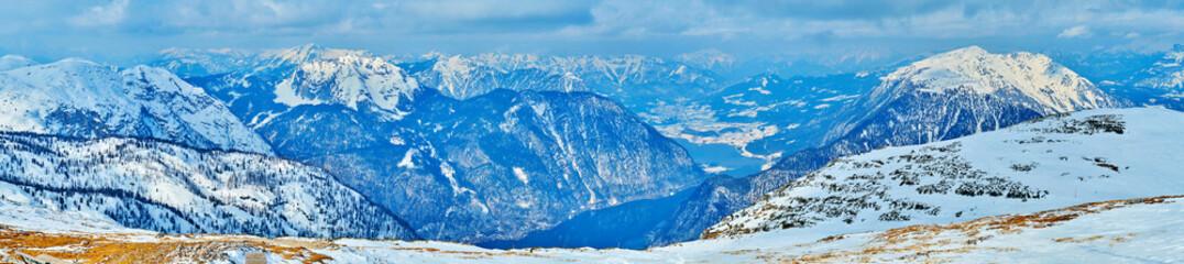 Winter Dachstein Alps and Hallstattersee lake, Salzkammergut, Austria