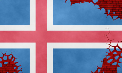 Illustration of an Icelandic flag imitating a paiting on the cracked wall