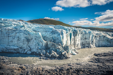 River winds underneath the Russel Glacier in the arctic Greenland, the beginning of the Arctic CIrcle Trail (ACT)