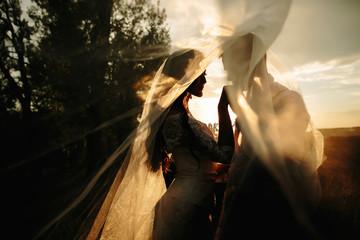 Beautiful wedding couple portrait behind veil. Sunrise light n background