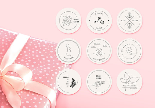 Easter and Spring Labels Layout Set