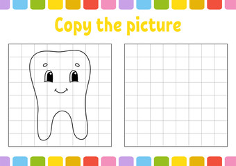 Copy the picture. Coloring book pages for kids. Education developing worksheet. Game for children. Handwriting practice. Cute cartoon vector illustration.
