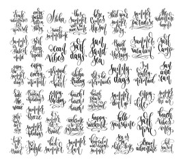 set of 50 hand lettering inscriptions text to summer holiday design